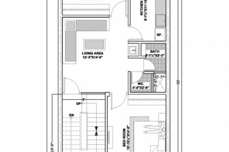 20*50 House Plan West Facing