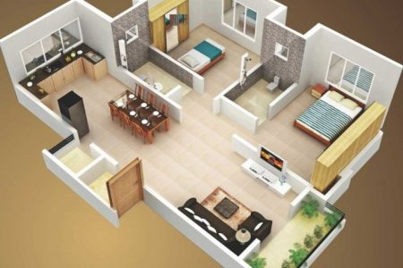 2 Bedroom House Plans 3D