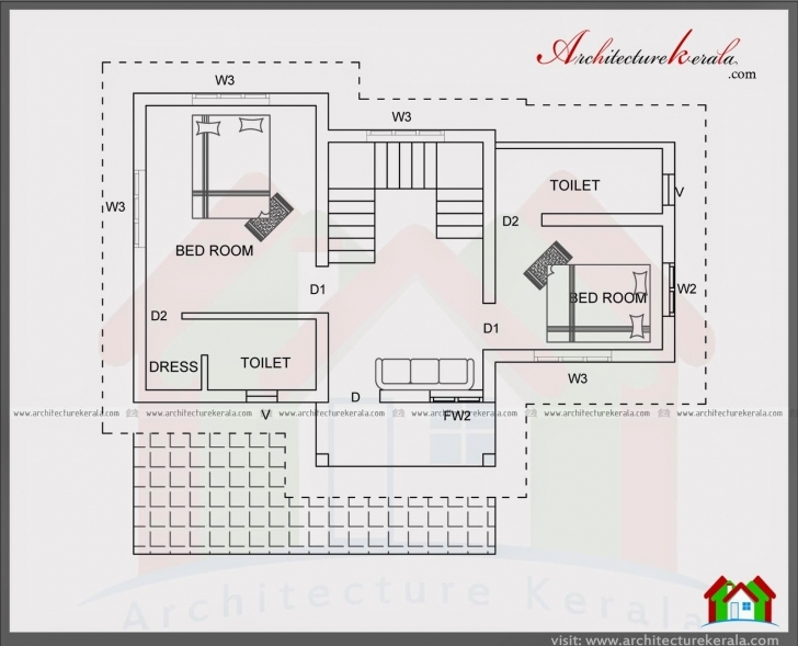 Inspiring 4 Bedroom House Plan In 1400 Square Feet - Architecture Kerala 1000 To 1500 Square Feet House Plans In Kerala Photo