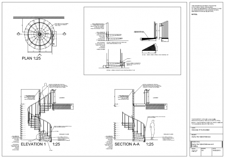 Inspiring Autocad 2012 Spiral Staircase Detail Drawings, Plan, Section Plan Elevation And Section Drawings Dwg Picture