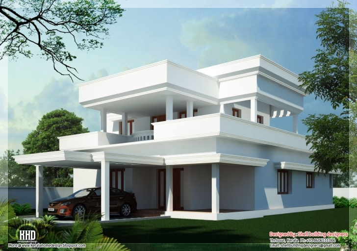 Inspiring Beautiful Flat Roof Home Design Kerala Floor Plans - Building Plans Beautiful Flat Roofed Houses Pic