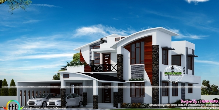 Inspiring Contemporary Model Curved Roof House - Homes Design Plans Contemporary Model House Photo