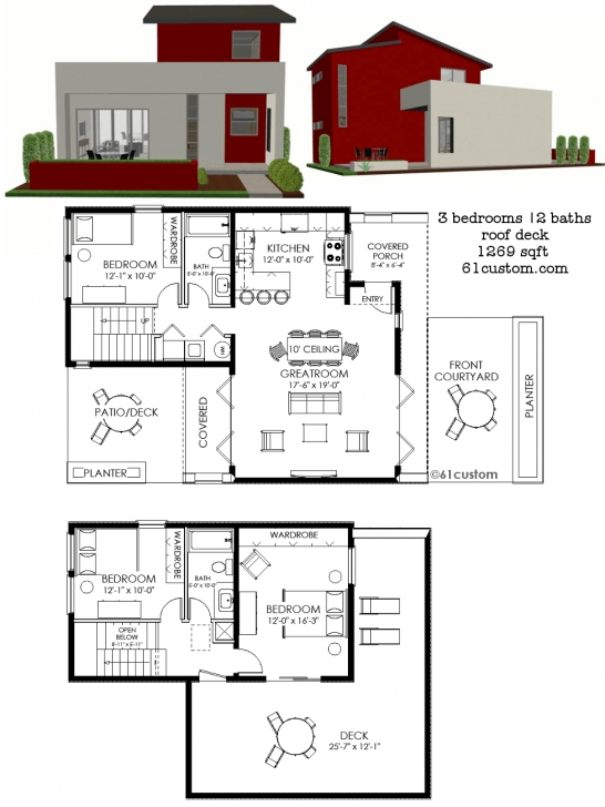 Inspiring Contemporary Small House Plan | 61Custom | Contemporary & Modern Small House Plans Picture