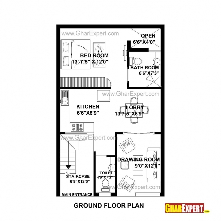 Inspiring House Plan For 22 Feet By 35 Feet Plot (Plot Size 86 Square Yards 22 X 40 Ft House Plans Picture