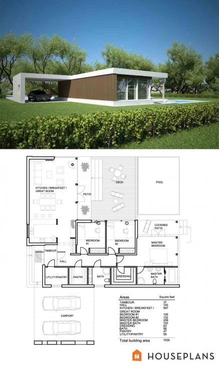 Inspiring Modern Style House Plan - 3 Beds 2.00 Baths 1539 Sq/ft Plan #552-2 Modern Floor Plan And Elevation Image