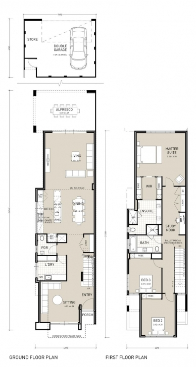 Inspiring Narrow Two Story House Plans - Google Search | Plans | Pinterest Half Plot Double Floor Plan Image