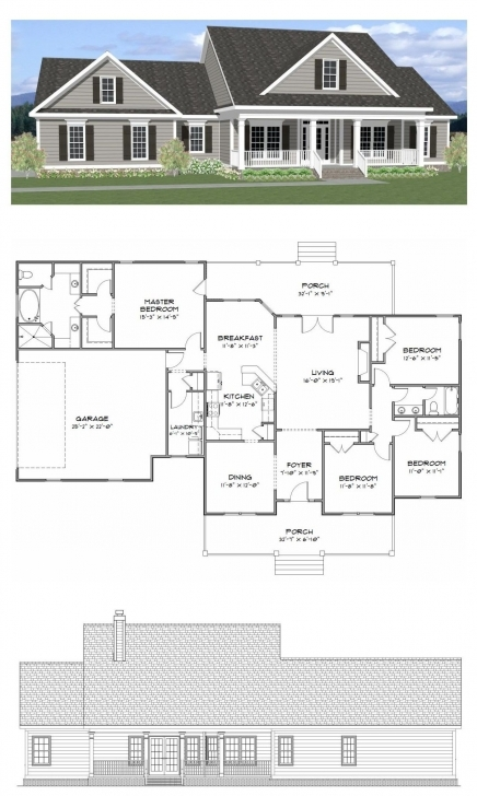 Inspiring Plan Sc-2081: ($750) 4 Bedroom 2 Bath Home With 2081 Heated Square Architectural Three Bedroom Designs On Half Plot Of Land Image
