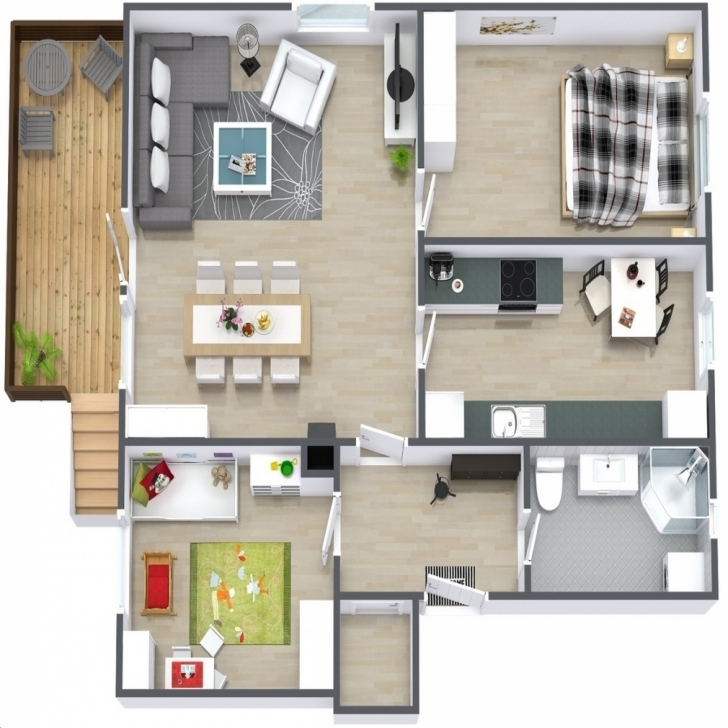 Interesting 2 Bedroom 30 Ft Wide House Plans In 3D Condointeriordesign Inside 20*30 House Plan Images 3D Image