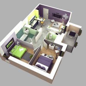 Simple House Plan With 2 Bedrooms