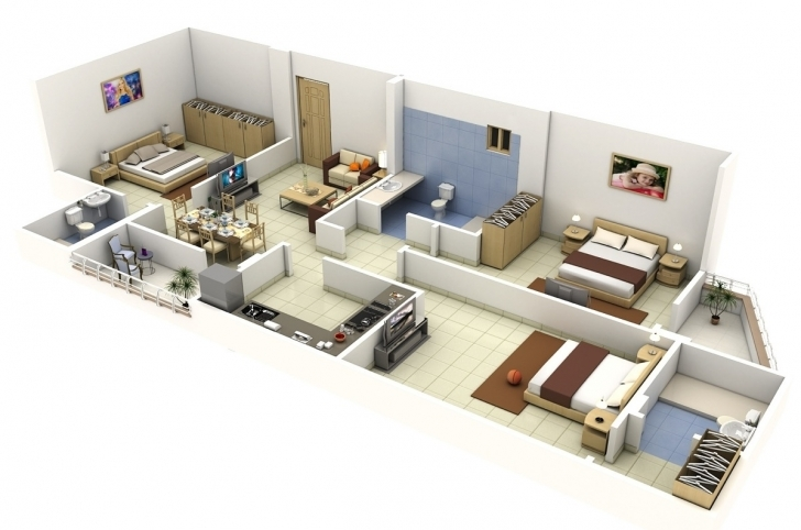 "Interesting 50 Three ""3"" Bedroom Apartment/house Plans 