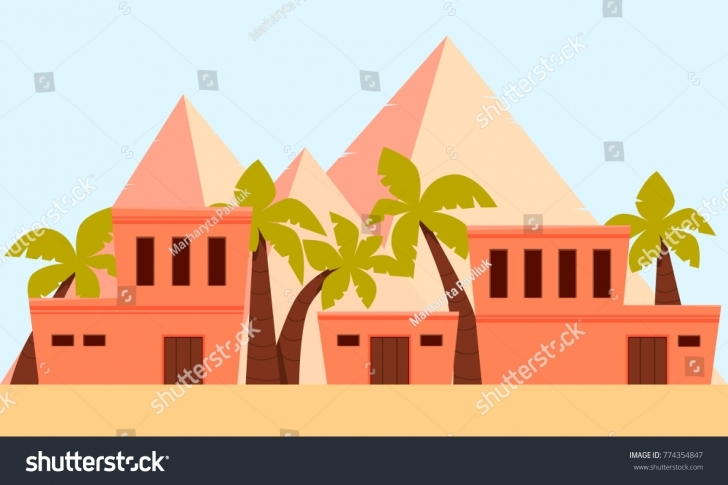 Interesting City Ancient Egypt Flat Design Vector Stock Photo (Photo, Vector Ancient Egyptian Flat Roofed Houses Image