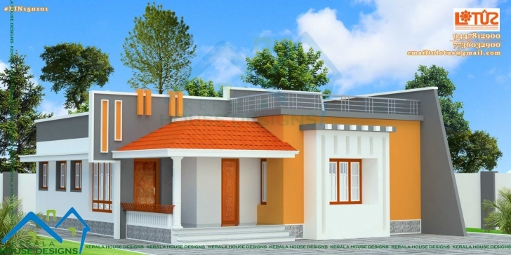 Interesting Fascinating Front Elevation Of Single Floor House Kerala Also Single Floor House Front Elevation Designs In Kerala Image