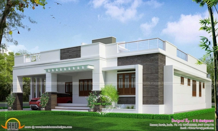 Interesting Fascinating Front Elevation Of Single Floor House Kerala Kerala House Elevation Single Floor Pic