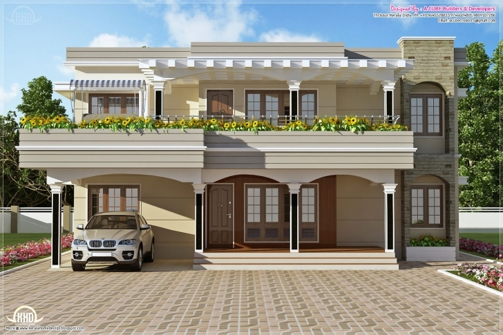 Interesting Flat Roof Villa Feet Kerala Home Design Floor Plans - Building Plans Indian Bungalow Designs Photo Gallery Picture