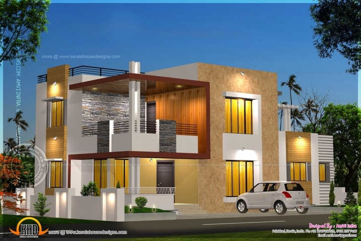 Interesting Floor Plan Elevation Modern House Kerala Home Design - House Plans Modern Home Plan And Elevation Pic