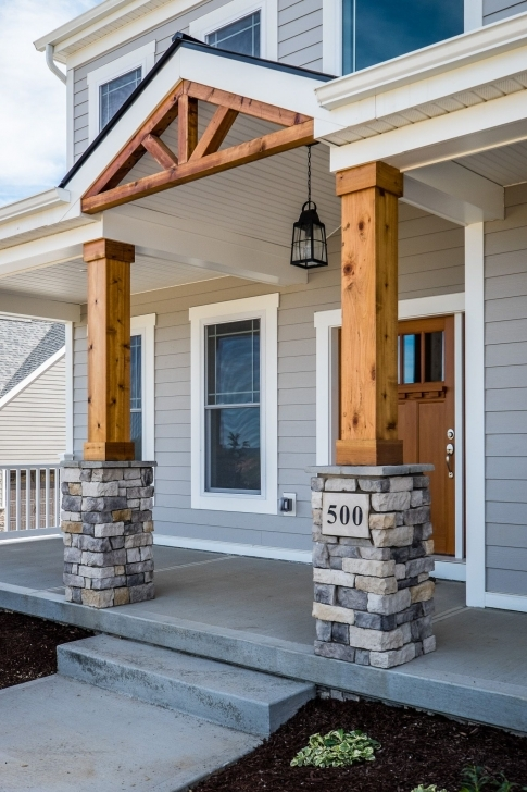 Interesting Gorgeous Front Porch! Wood And Stone Columns! | Home Exteriors Front House Pillar Designs Image