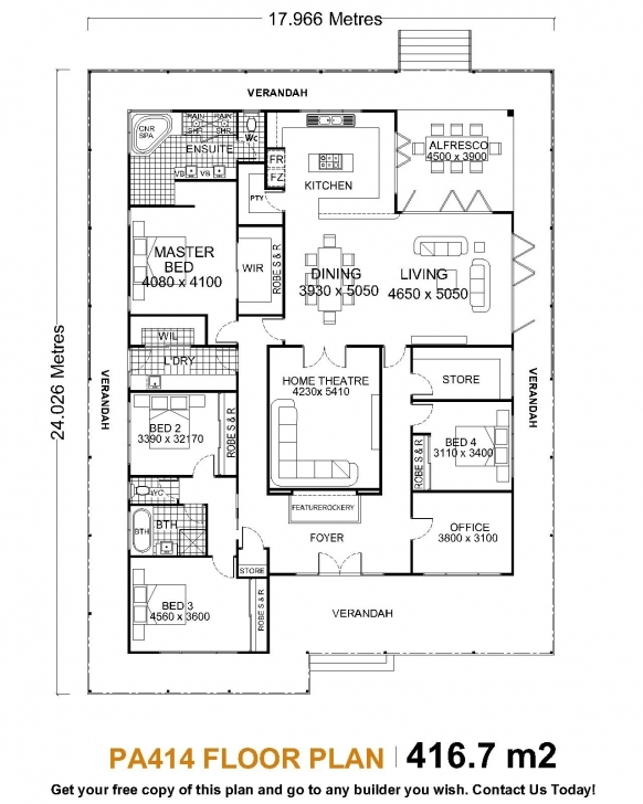 Interesting Home Architecture: Single Story House Plans Dream Homes Floor With 4 Bedroom Single Story House Floor Plans Photo