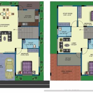 30 X 40 House Plans East Facing 2 Storey House