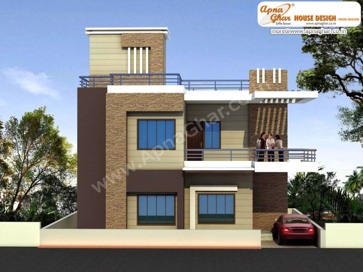 Interesting Modern Beautiful Duplex House Design Square Feet Bill - Home Plans 10 Feet Front House Design Pic