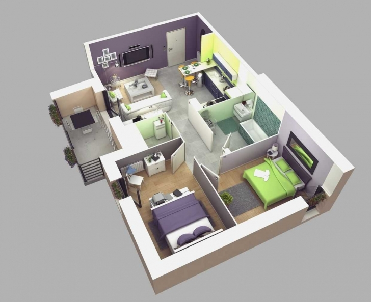 Interesting Photo Of 3D Plan 2 Bedroom Pictures House Plans Just The Two Us 3D House Plain Photo