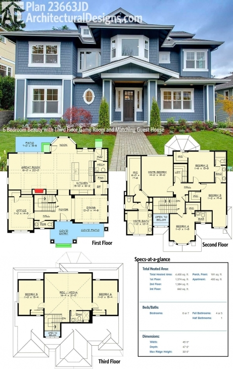 Interesting Plan 23663Jd: 6 Bedroom Beauty With Third Floor Game Room And Architectural Three Bedroom Designs On Half Plot Of Land Pic