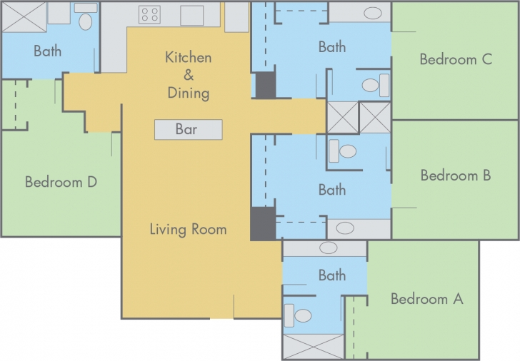 Interesting Suites At Adobe Floor Plan - 4 Bedroom, 4 Bathroom Flat 4 Bedroom Flat Floor Plan Image