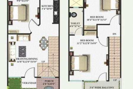 15 X 50 Duplex House Plan