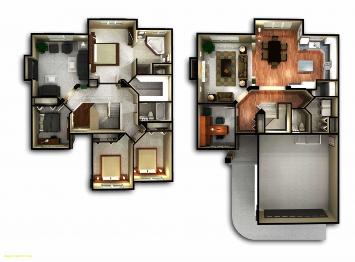 Latest 2 Floor House Plans 3D | House For Rent Near Me 2 Storey House Plan 3D Photo