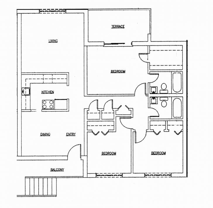 Latest 3 Bedroom Flat House Plan In Nigeria Awesome Download 3 Bedroom Three Bed Room Floor Plan In Nigeria Picture