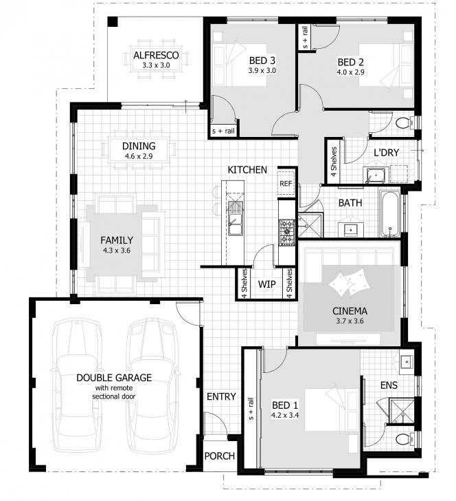 Latest 3 Bedrooms Modern House Layout With Dining Cinema Family Room And 3Bedrooms With Garages Floor Plan Picture