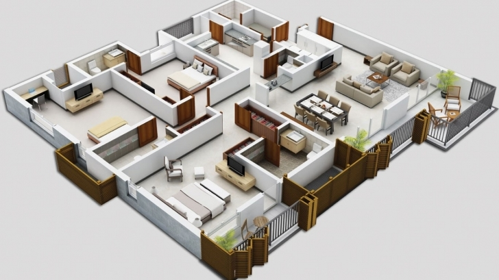 Latest 4 Bedroom House Floor Plans 3D | Theworkbench 4 Bedroom Modern House Plans 3D Picture