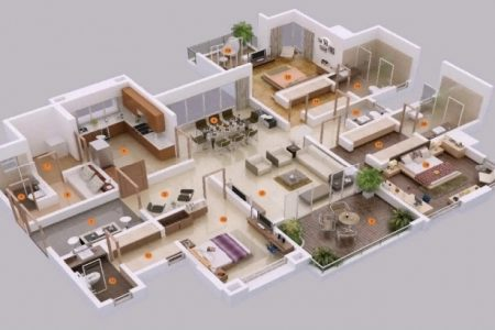 5 Bedroom House Plan 3D