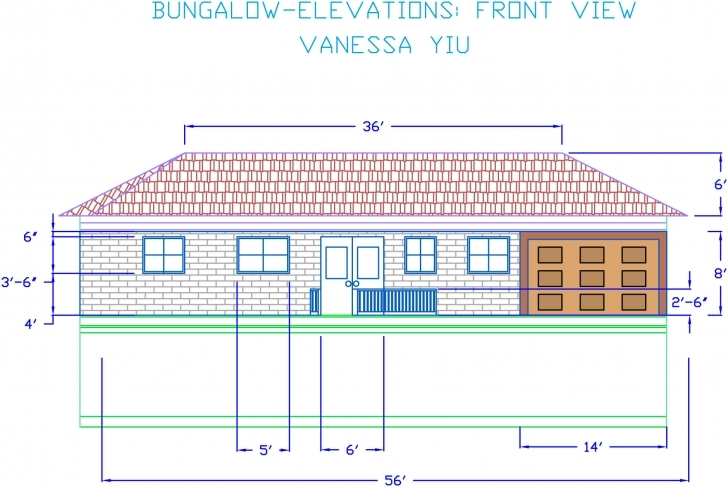 Latest Autocad Bungalow Elevations | Vanessa's Portfolio Autocad 2D Plan And Elevation Image