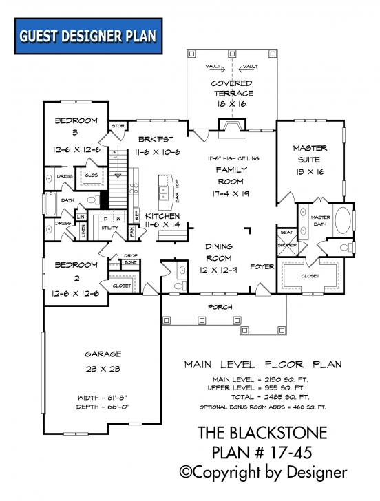Latest Blackstone House Plan | House Plans By Garrell Associates, Inc. 17*45 House Plan Image