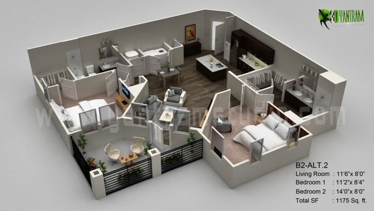 Latest Classic 3D Floor Plan Visualization Residential | 3D, House And Room Fantastic 3D Modern House Plan Photo