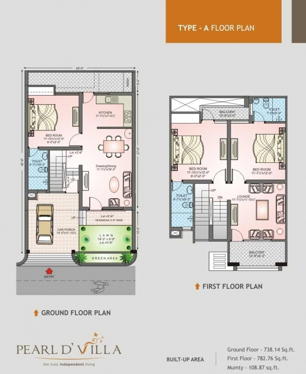 Latest Floor Plans : Pearld' Villa - Jagatpura, Jaipur Residential Property 30*50 House Plan 3Bhk Image