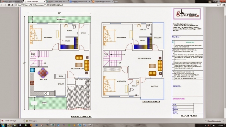 Latest Ghar Planner : Leading House Plan And House Design Drawings Provider 30X45 House Plan Image