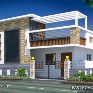 15 X 50 House Front Elevation