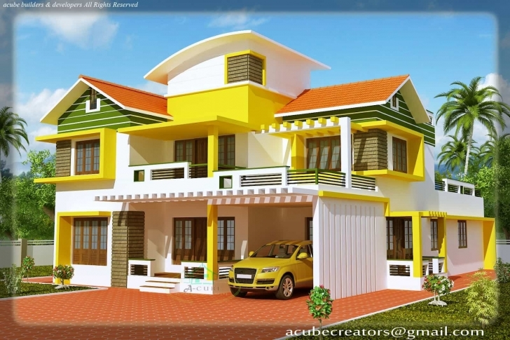 Latest Kerala House Model- Duplex House Elevation At 2700 Sq.ft Kerala House Elevation Models Pic