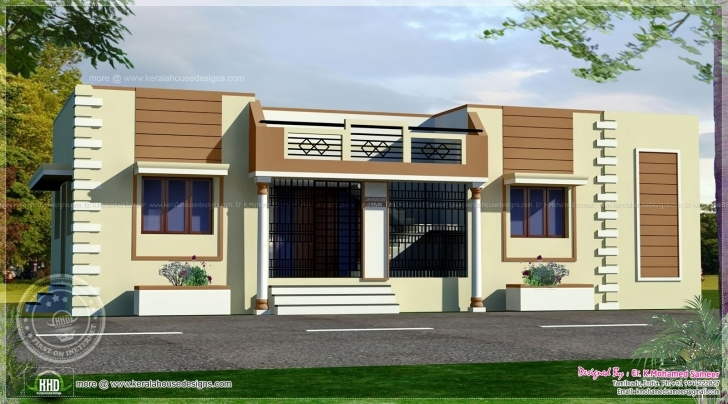 Latest Tamilnadu Style Single Floor Home Kerala Design Plans - Home Plans Single Floor Home Front Design Hd Image