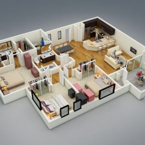 3D 3 Bedroom House Plans