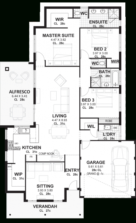 Marvelous 3 Bedroom House Plans & Designs Perth | Vision One Homes 3 Bedroom House Plans Image