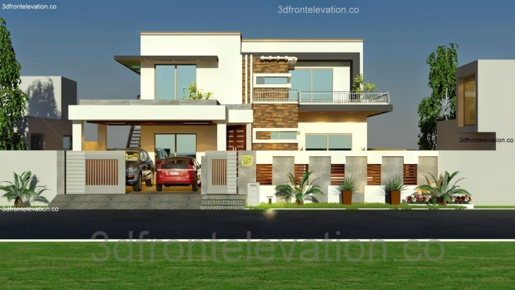 Marvelous 3D Front Elevation: 1 Kanal House Plan Layout 50' X 90' 3D Front Pakistani House Front Elevation Designs Photo