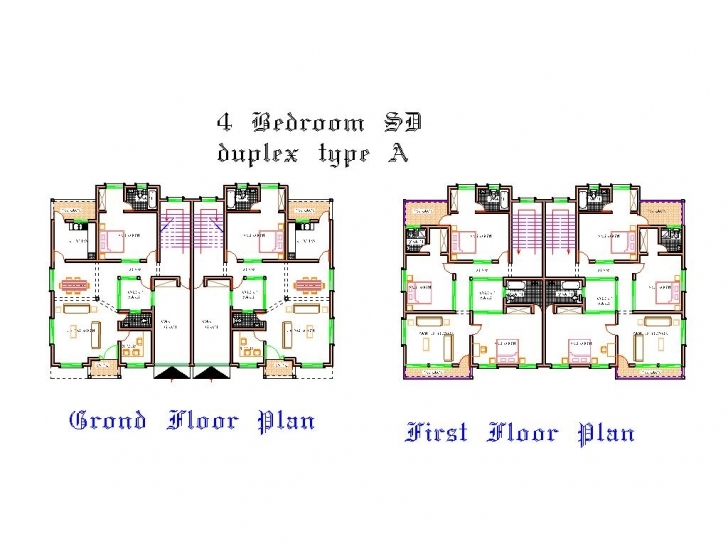 Marvelous 4 Bedroom Duplex Floor Plans, 4 Bedroom Plan In Nigeria - Bracioroom Duplex Floor Plans In Nigeria Photo