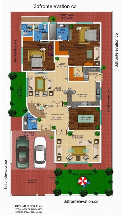 Marvelous 500 Sq Yard House Plans Ideas & Designs | Planos De Casas 45 Yards 3D Houses Image