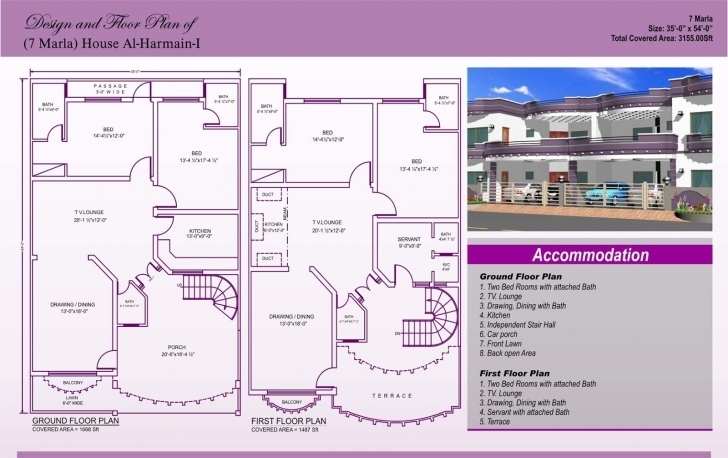 Marvelous 7 Marla House Plan Design - Autocad 2D Maps 7 Marla House Map Image