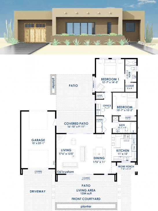 Marvelous Contemporary Adobe House Plan | 61Custom | Contemporary & Modern Modern House Plans Image