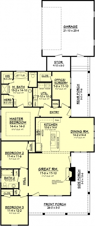 Marvelous Country Style House Plan - 3 Beds 2.00 Baths 1900 Sq/ft Plan #430-56 Simple Four Bedroom House Plans With A Verandah Image