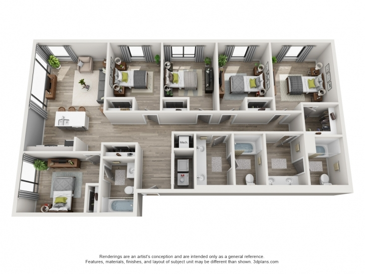 Marvelous Floor Plans The Ruckus Lofts Austin Apartments Inspirations Plan 5 5 Bedroom House Plans 3D Pic