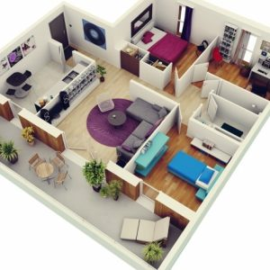 Simple Home Plans 3 Bedrooms In 3D